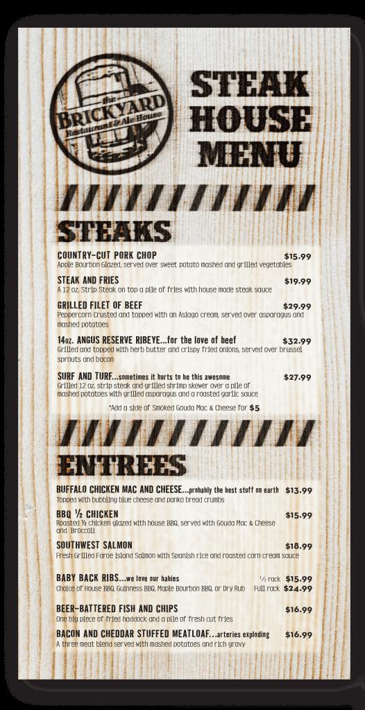 The Brickyard: Steak House Menu Insert