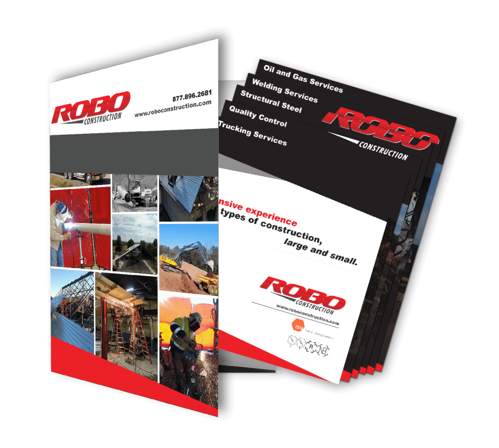 Robo Construction folder and stepped flyer